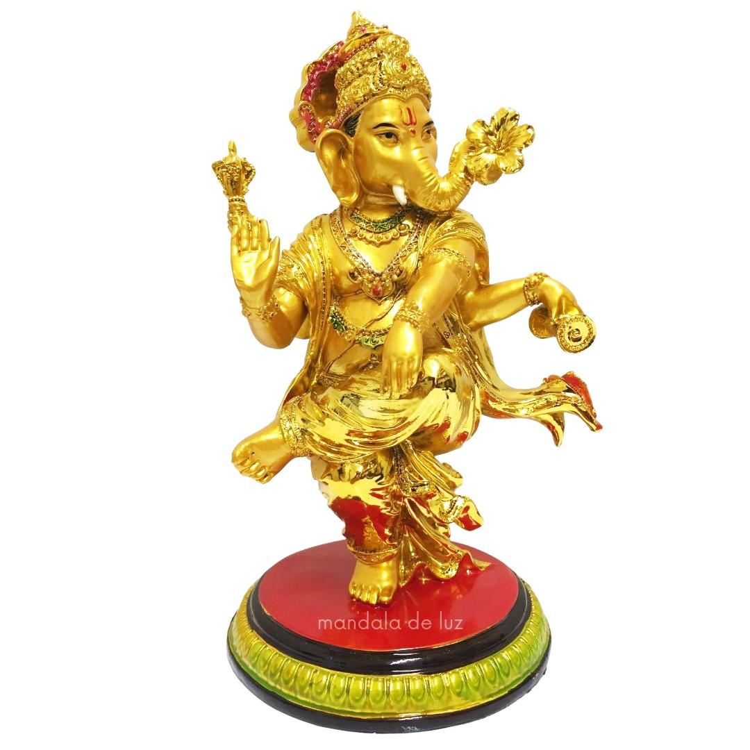 Ganesha em Pé Dançando Dourado Resina 25cm