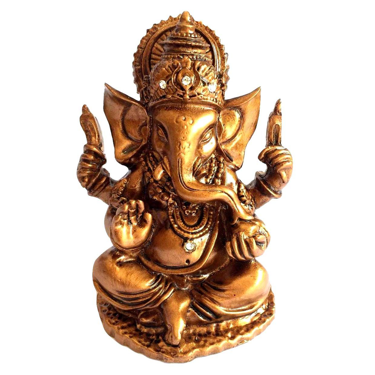 Ganesha Resina Cor Bronze 9,5cm