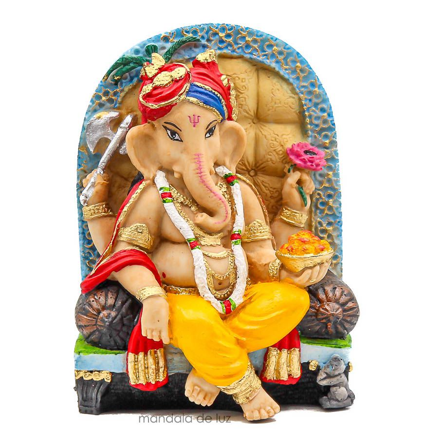 Estátua Ganesha Sentado na Poltrona Resina Colorido 18cm