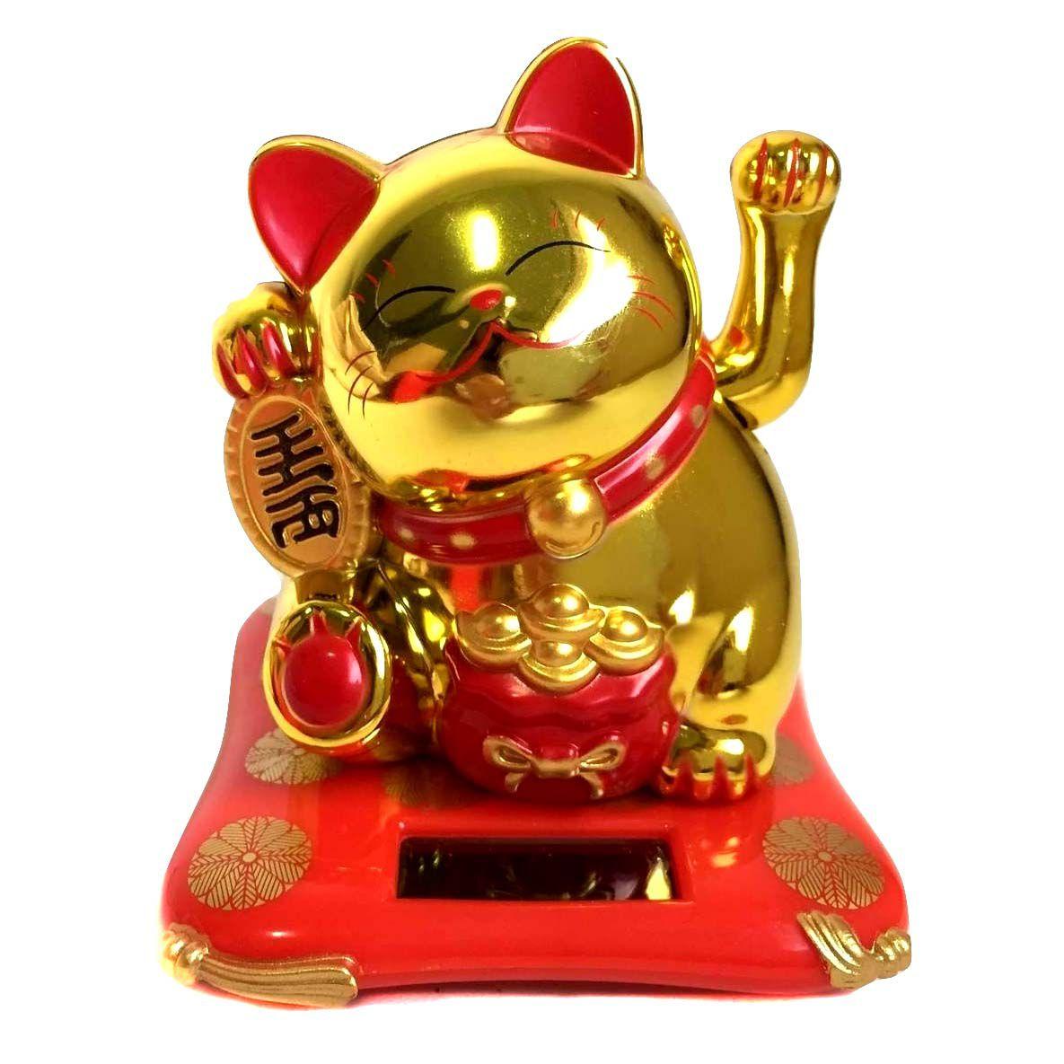 Gato da Sorte Maneki Neko Solar Dourado - Movimenta a mão