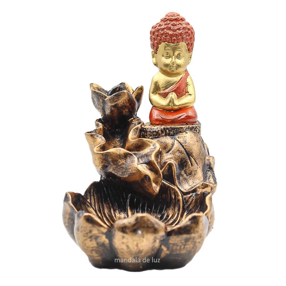 Incensário Cascata Buda Dourado e Vermelho 14cm