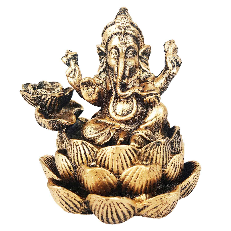 Incensário Cascata Ganesha Flor de Lótus 10cm