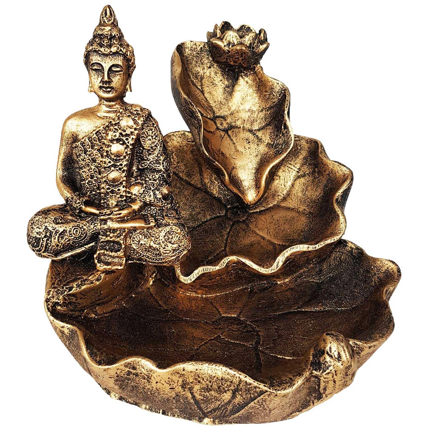 Incensário de Cascata Folha de Buda Hindu 11cm