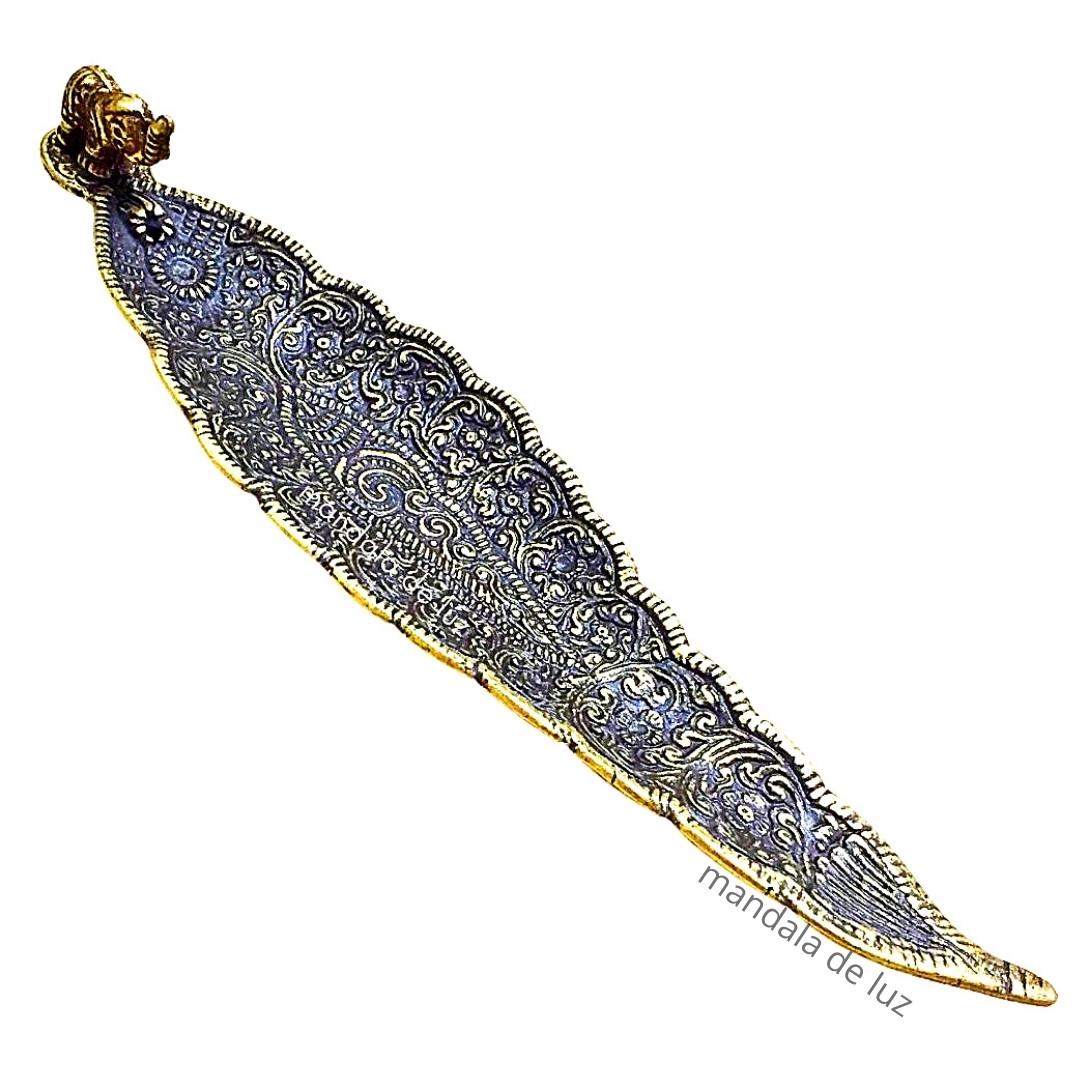 Incensário Metal Indiano de Elefante Dourado Canoa - Porta Incenso