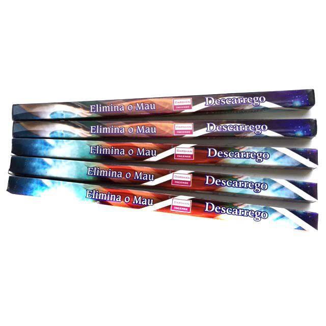 5 caixas de incensos Darshan Descarrego - Elimina o Mau - 40 varetas