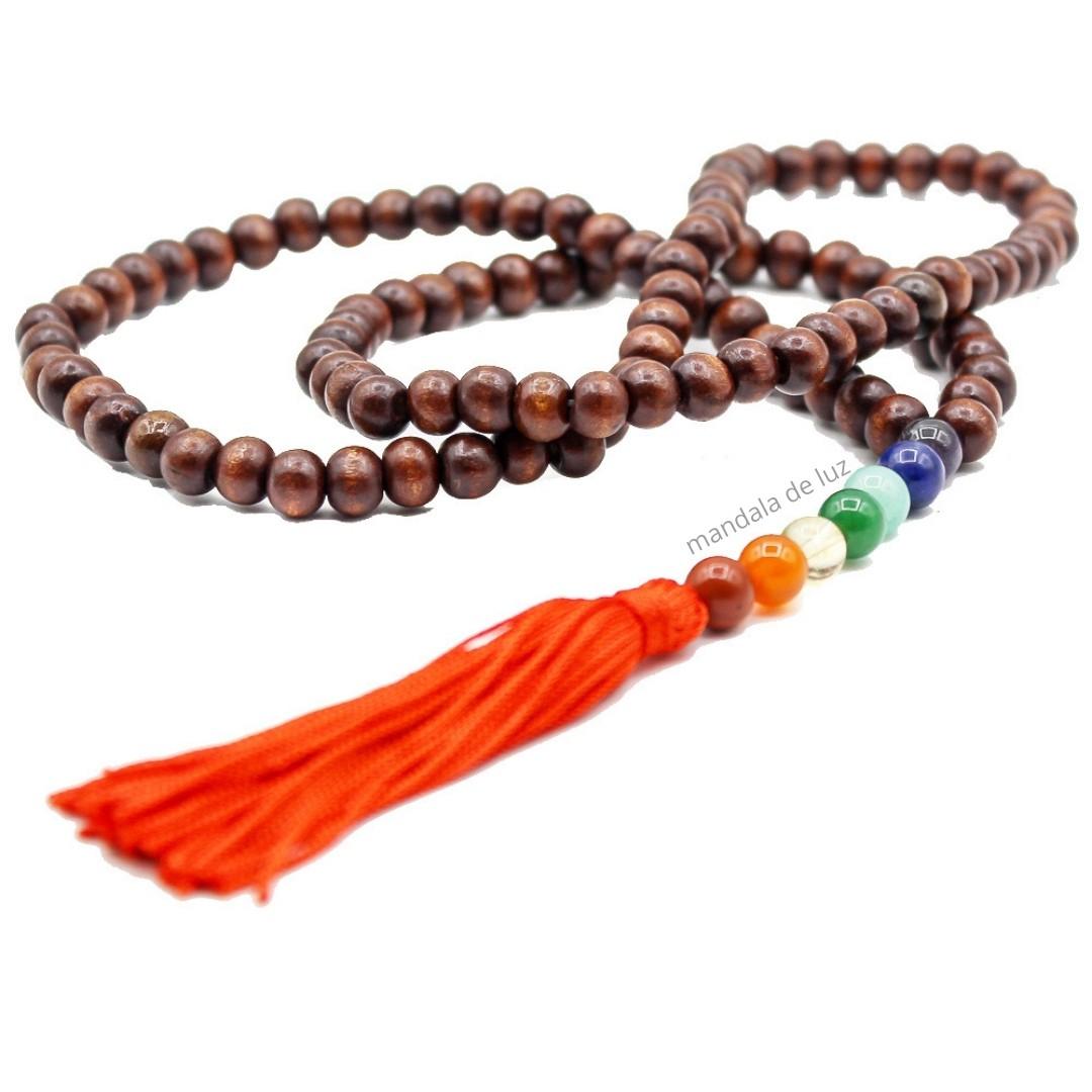 Japamala 108 Contas Madeira Escura Cristais dos Chakras