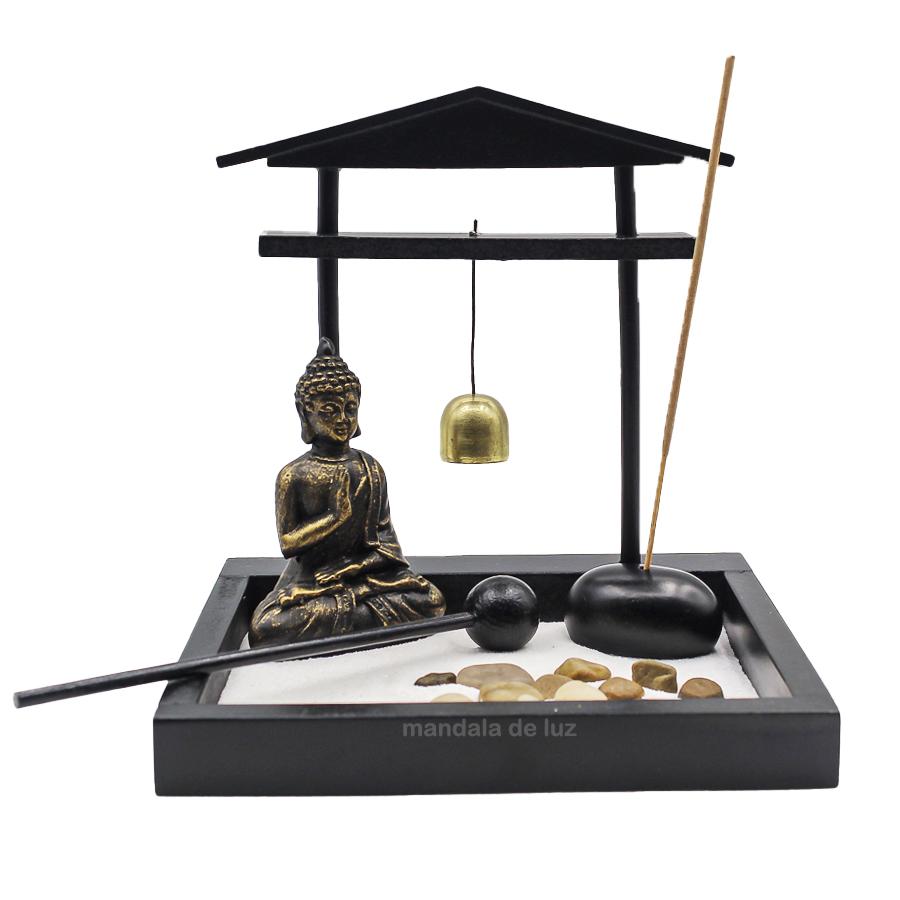 Jardim Zen com Buda Hindu, Sino e Incenso - Preto e Dourado