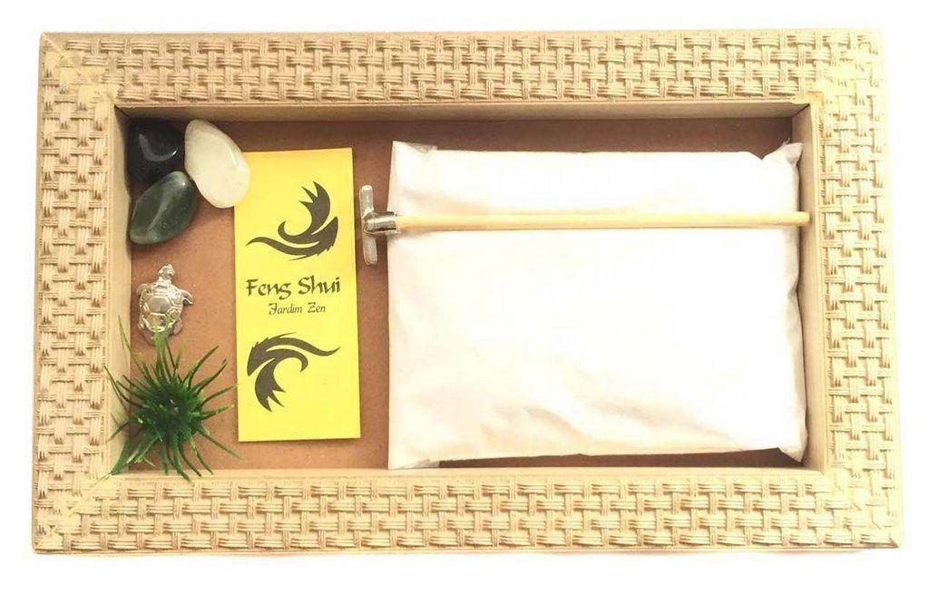 Jardim Zen Madeira Trançada Marfim Feng Shui 25cm