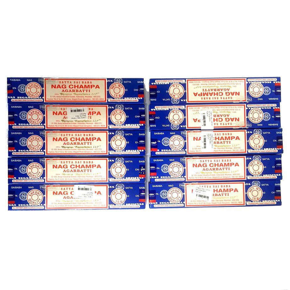 Kit 10 Caixas de Incensos Nag Champa Satya Sai Baba Agarbatti - Atacado