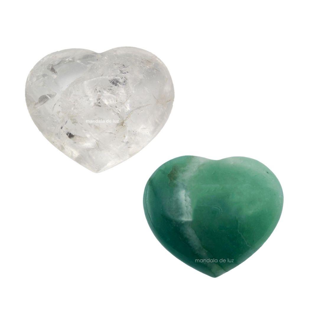 Kit 2 Corações de Cristal Natural de Quartzo Verde e Quartzo Transparente