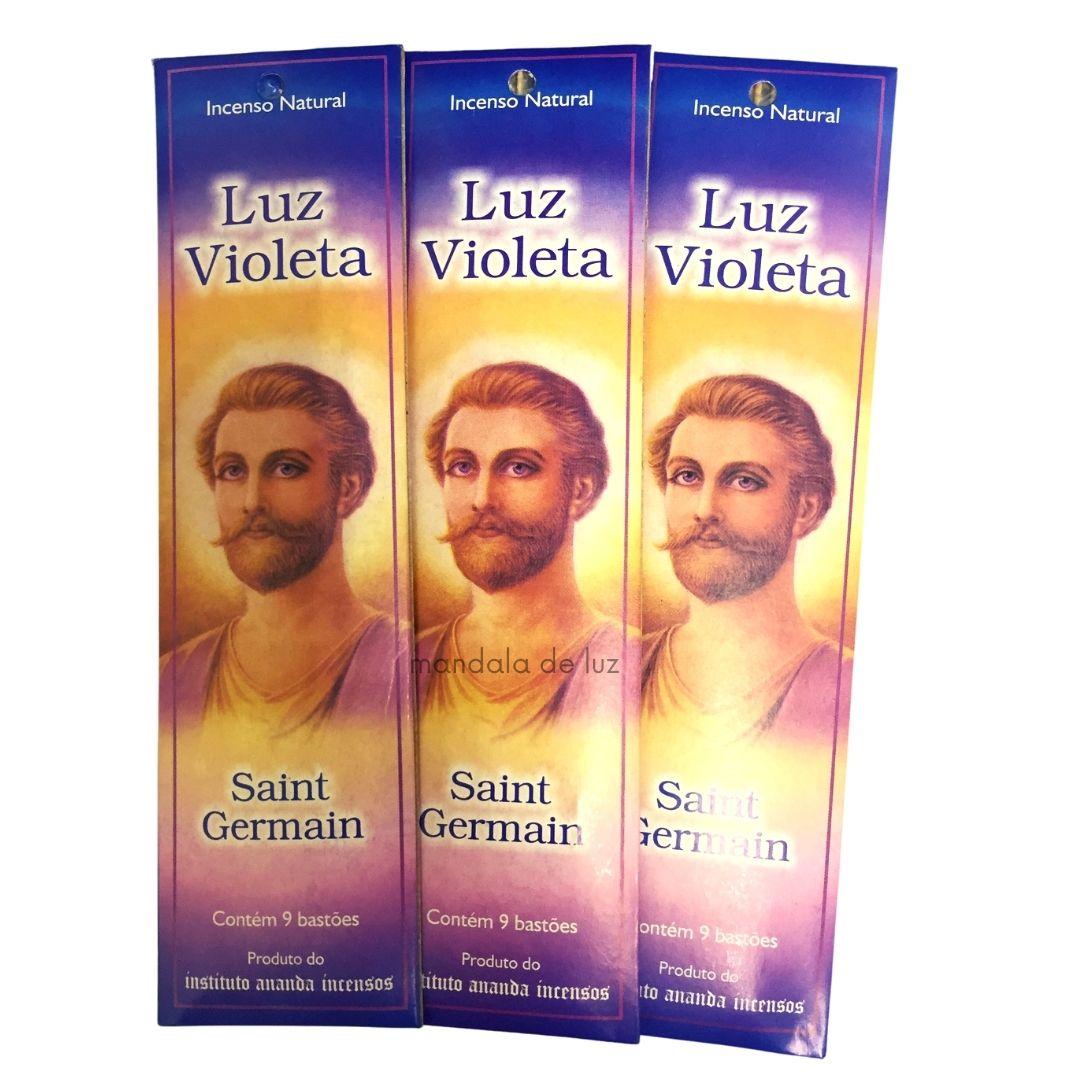 Kit 3 Incensos Ananda Luz Violeta Saint Germain Natural