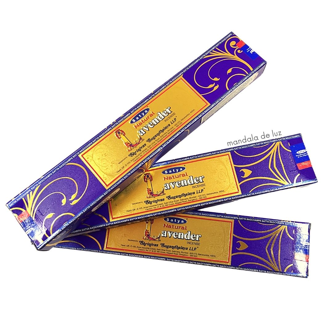 Kit 3 Incensos de Lavender Satya Natural Lavanda Massala Indiano