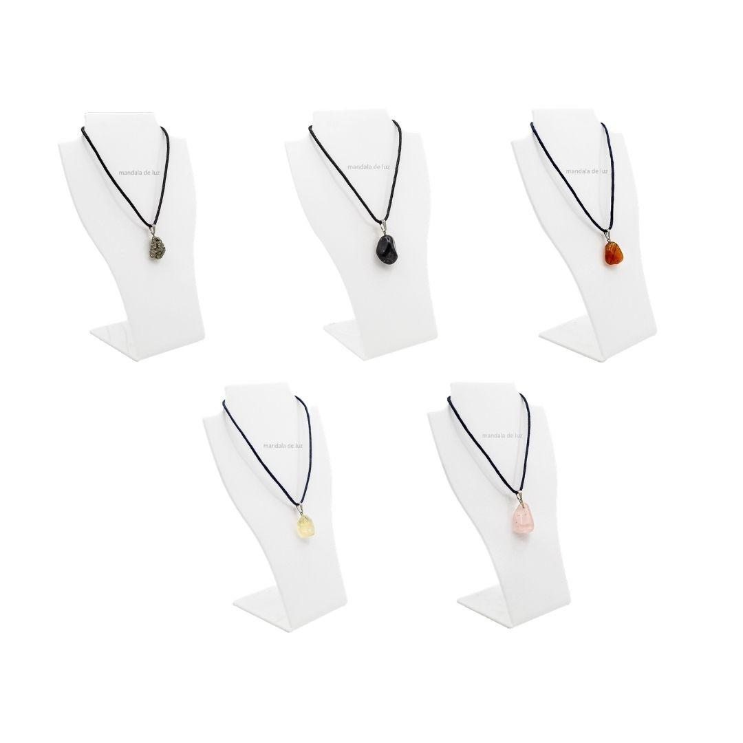 Kit 5 Colares de Pedras dos Orixás Ciganos, Iansã, Oxum, Pomba Gira e Exu