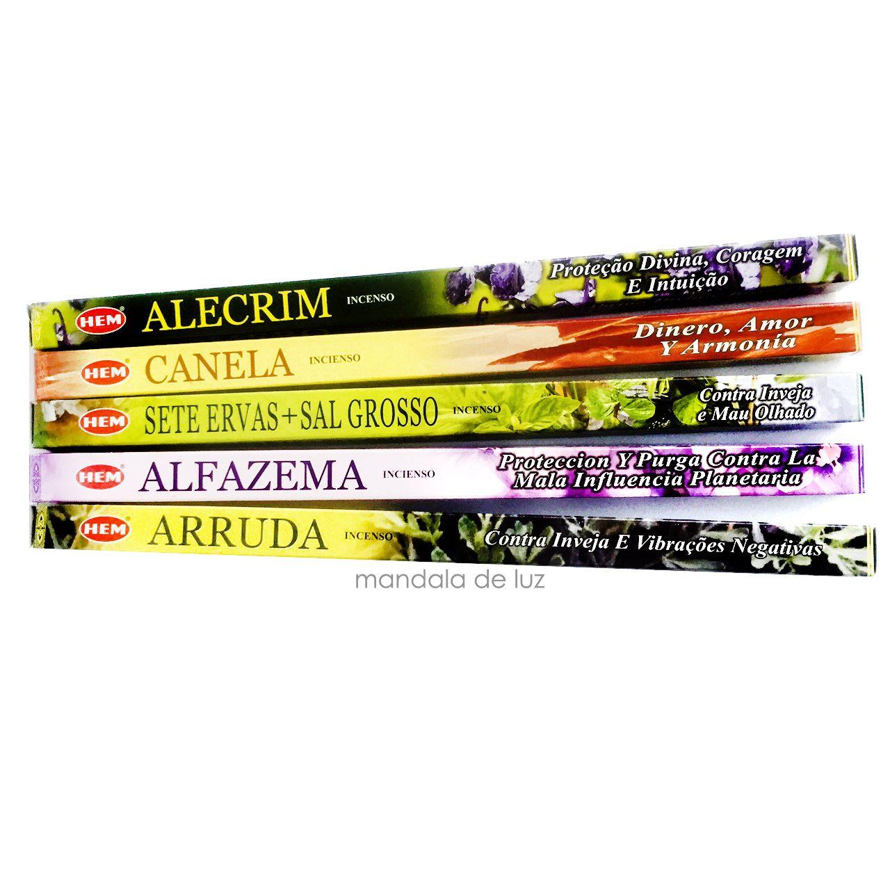 Kit 5 Incensos Hem Alecrim, Canela, 7 ervas, Alfazema e Arruda -  40 varetas