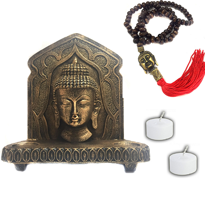 Kit Altar Buda Castiçal + Japamala Buda Madeira + 2 Velas