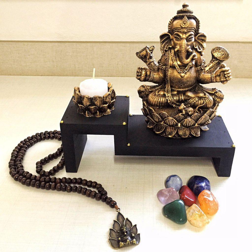 Kit Altar de Ganesha + Castiçal + Japamala + Kit dos Chakras