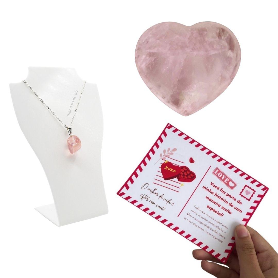 Kit Coração e Colar Folheado a Prata de Quartzo Rosa + Cartão Postal do Amor