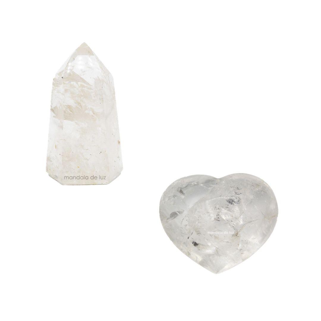 Kit Coração e Gerador de Cristal Natural Quartzo Transparente Branco