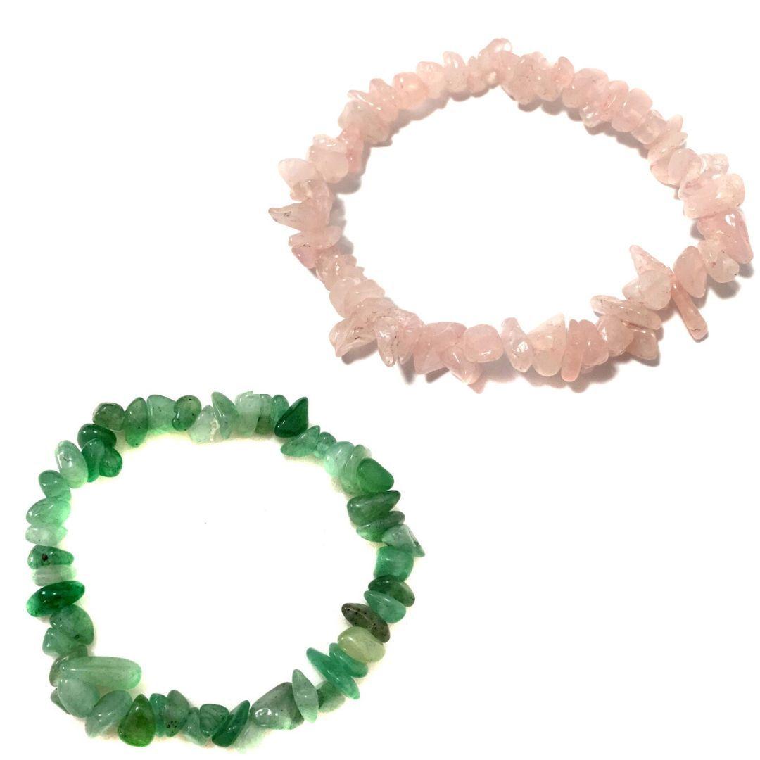 KIt de 2 Pulseiras de Cascalho de Quartzo Verde e Rosa Natural