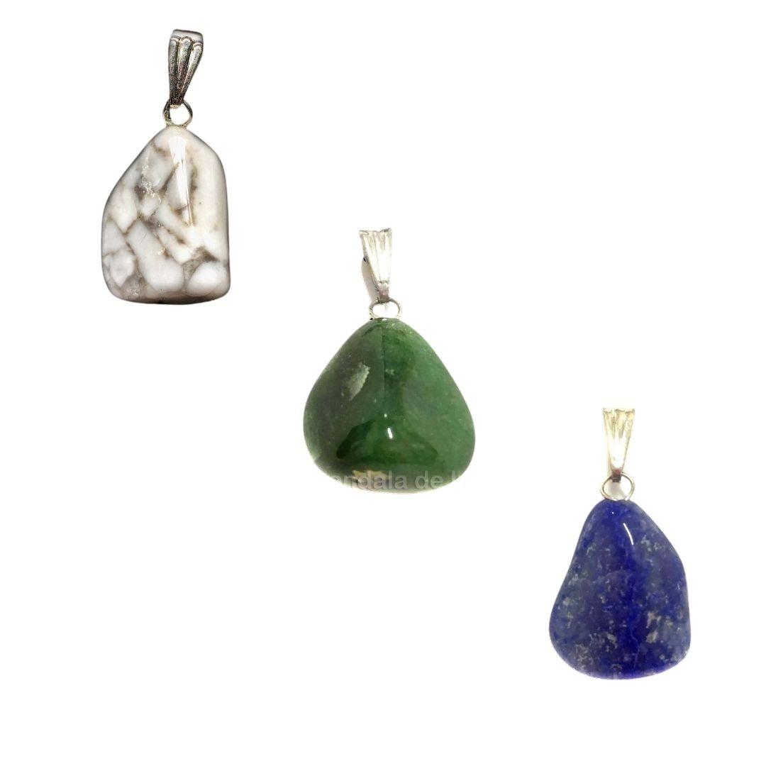 Kit de 3 Pingentes Quartzo Verde, Howlita e Quartzo Azul - Atacado