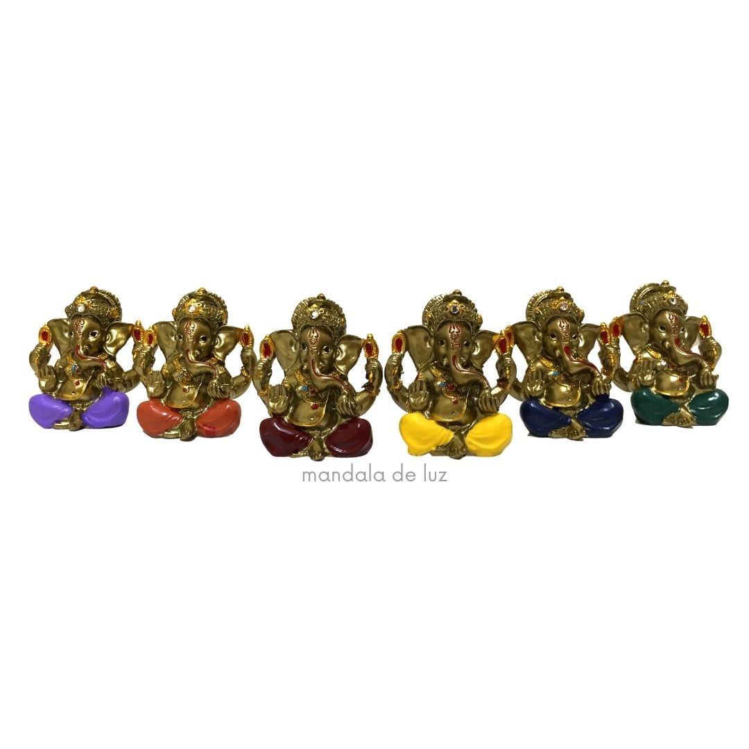 Kit de 6 Mini Ganesha Colorido Resina 5cm