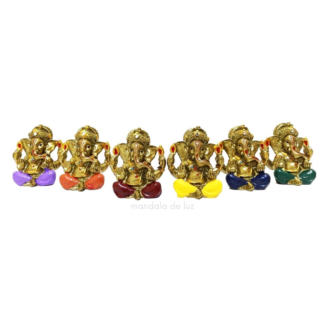 Kit de 6 Estátuas de Mini Ganesha Colorido Resina 5cm