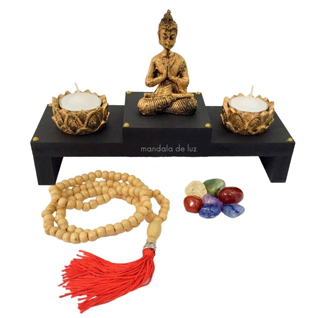 Kit de Altar Buda + 2 Castiçais +  Japamala + Kit dos Chakras + Velas