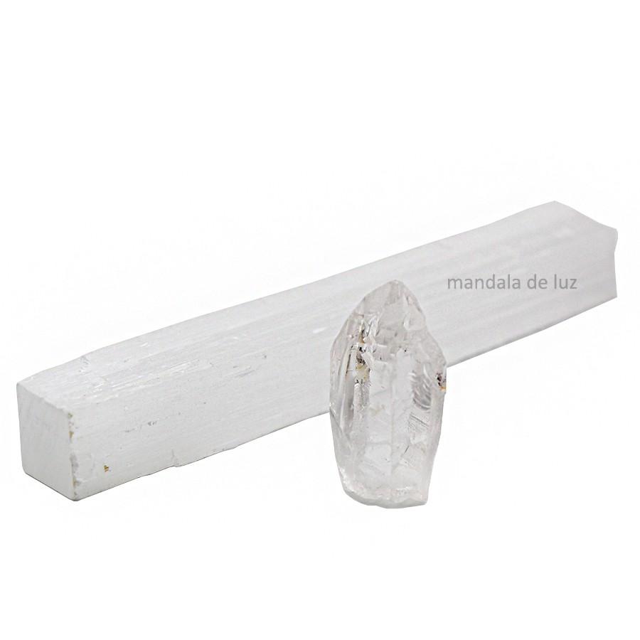 Kit de Limpeza Selenita e Cristal Quartzo Transparente
