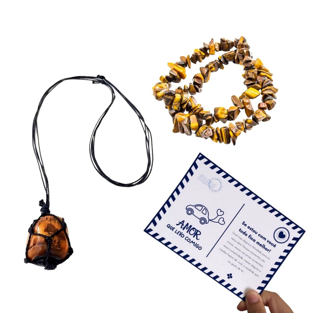 Kit de Pulseira de Cascalho e Colar Castroado de Olho de Tigre + Cartão Postal do Amor