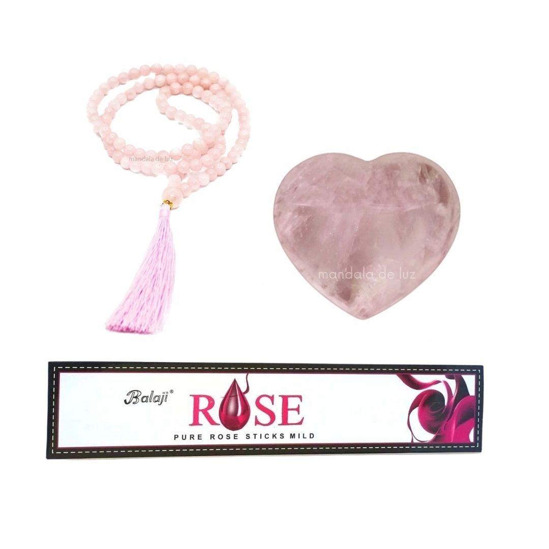 Kit do Amor com Coração e Japamala de Cristal Quartzo Rosa e Incenso Rose