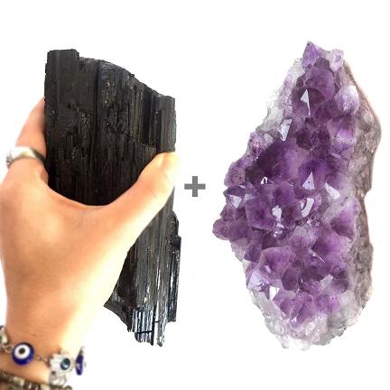 Kit Drusa de Ametista + Pedra Bruta de Turmalina Negra