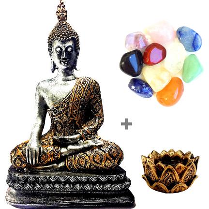 Kit Estátua Buda Grande + Kit 10 Pedras Mistas + Castiçal