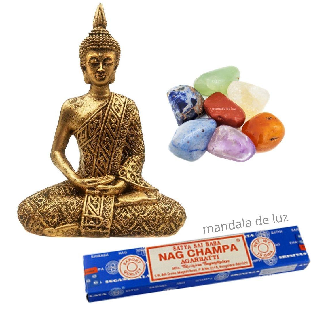 Kit Estátua de Buda + Pedras dos Chakras + Nag Champa