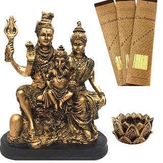 Kit Estátua Família Shiva + Incensário + 3 Incensos Naturais