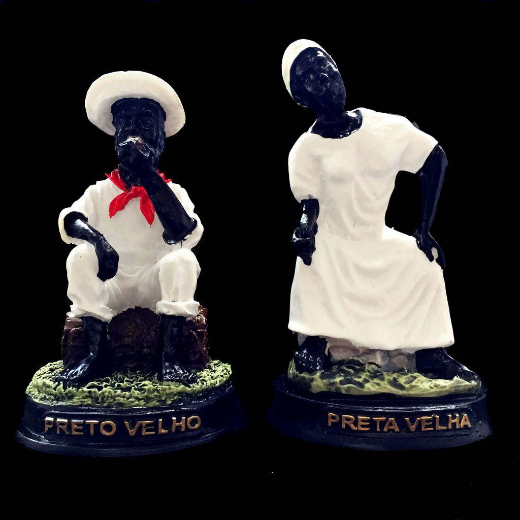 Kit Estátuas de Casal Preto Velho e Preta Velha Resina 12cm