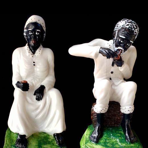 Kit Estátuas de Casal Preto Velho e Preta Velha Resina 20cm