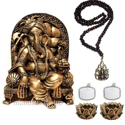 Kit Ganesha Poltrona + Japamala + 2 Castiçais + 2 Velas