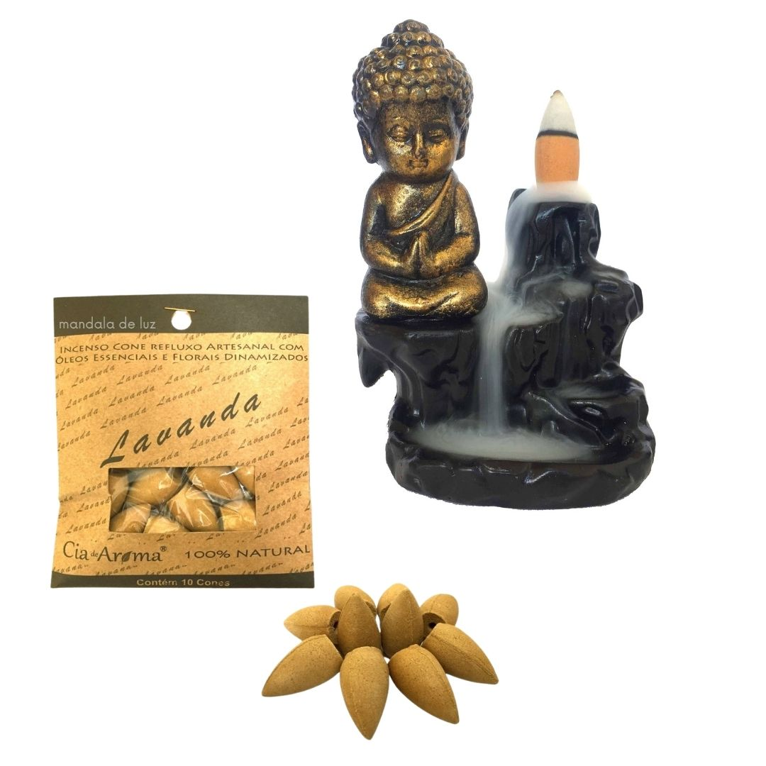 Kit Incensário Cascata Buda + Incenso Cone 100% Natural Lavanda