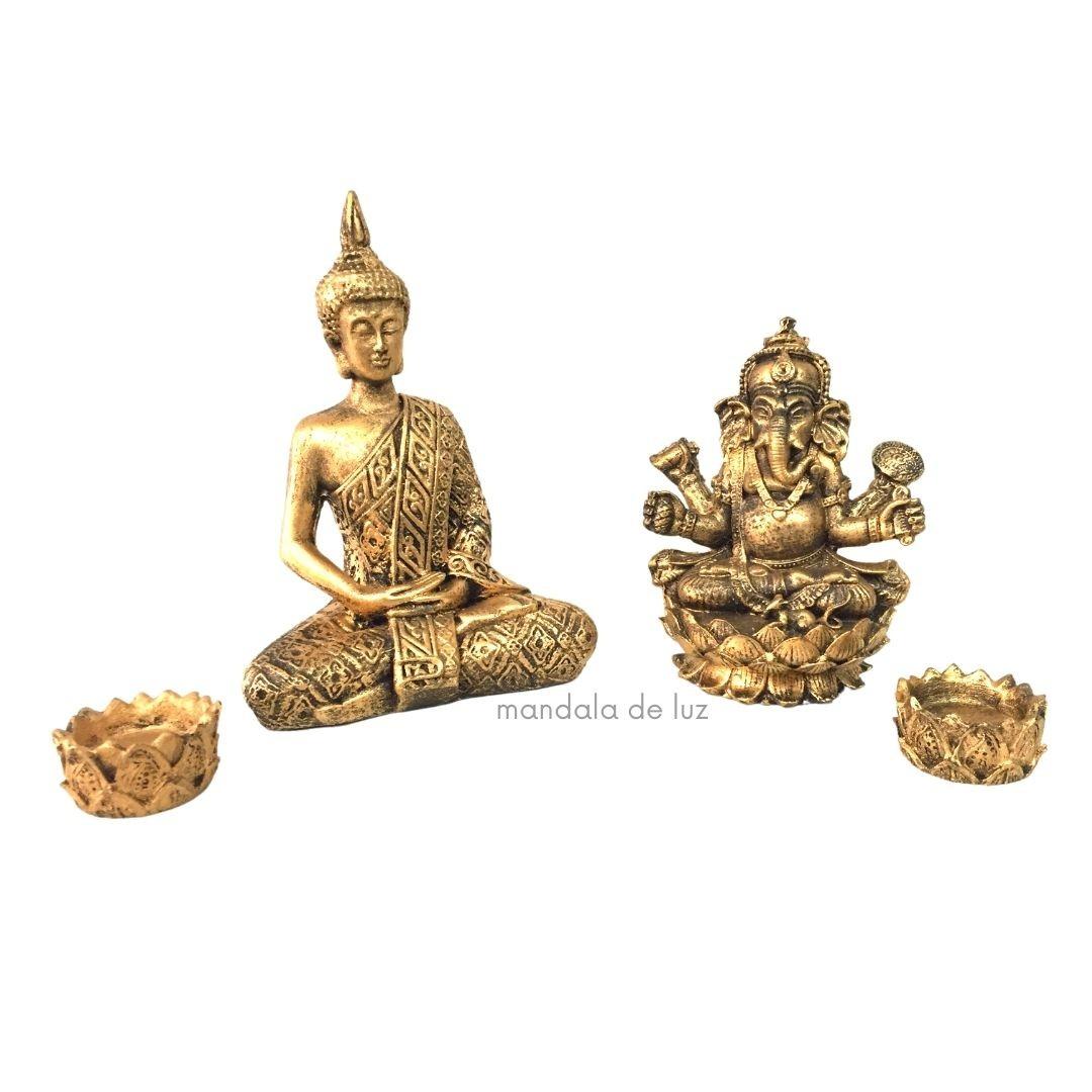 Kit Estátua Ganesha + Buda Hindu + 2 Castiçais