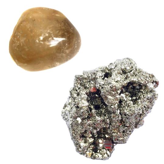Kit de Citrino 100% Natural + Pedra Pirita
