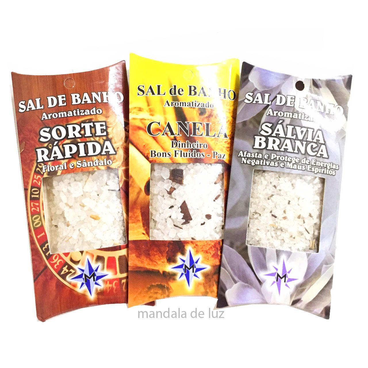 Kit Sal de Banho Aromatizado Sálvia Branca, Sorte Rápida, Canela - Atacado