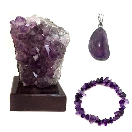 Kit Transmutação Drusa de Ametista + Pingente + Pulseira Pedras Naturais