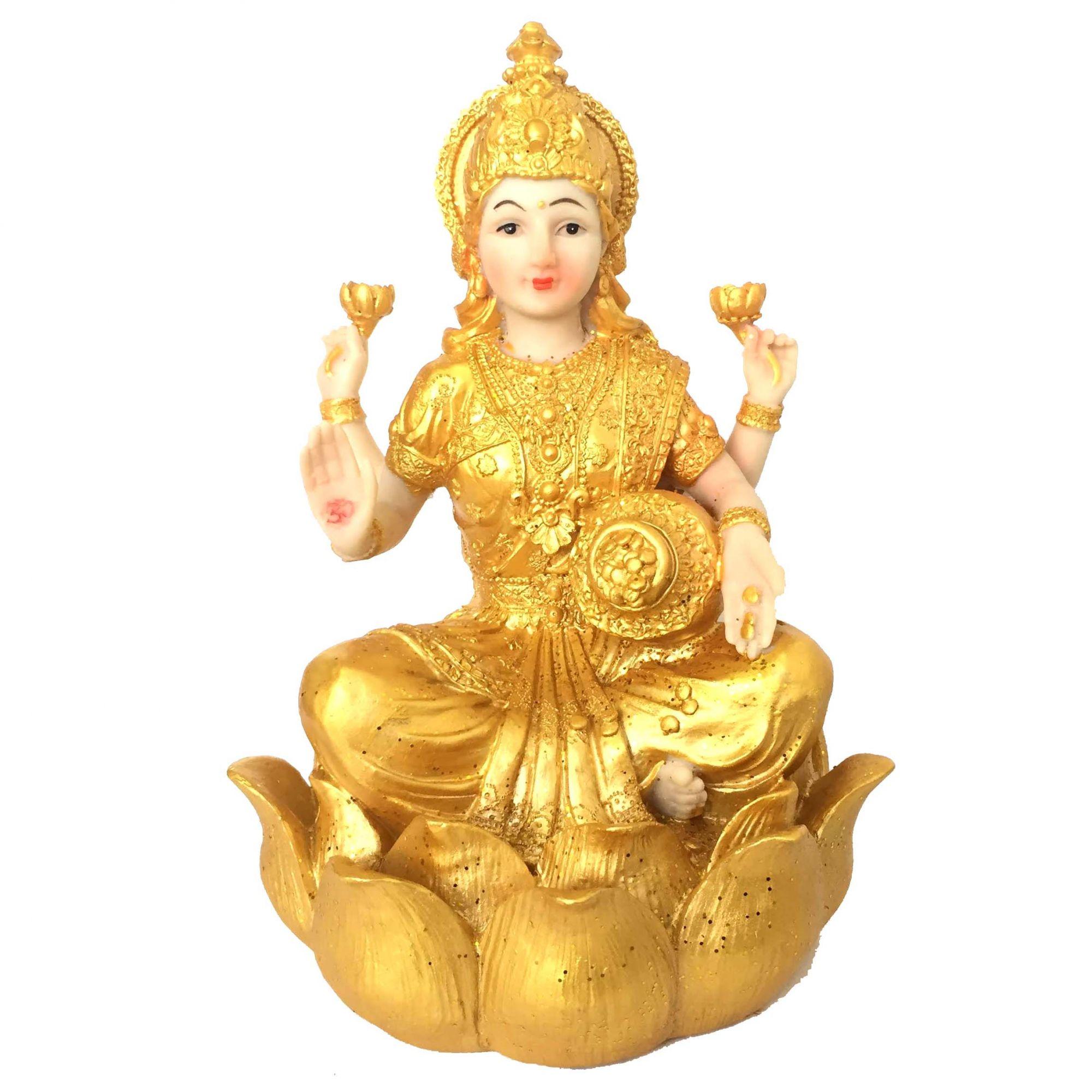 Lakshmi Deusa da Prosperidade e Riqueza Grande 26cm