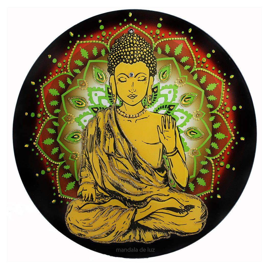 Mandala de Buda Parede Vidro 30cm