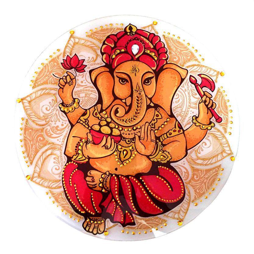 Mandala de Ganesha Parede Vidro 30cm