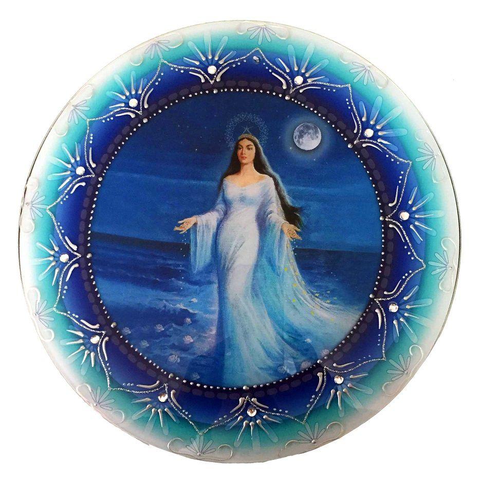 Mandala de Iemanjá Vidro Azul 30cm