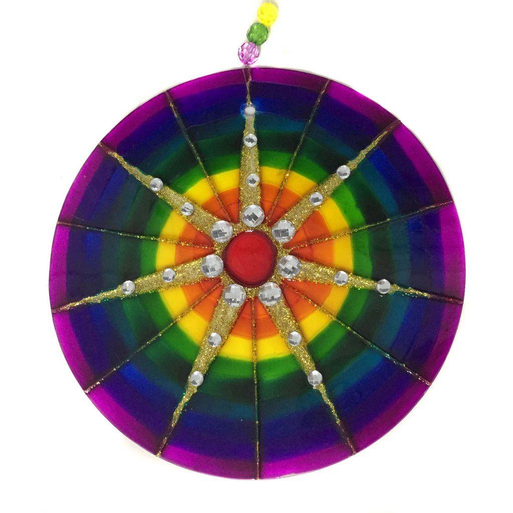 Mandala de Vidro 7 Raios 18cm