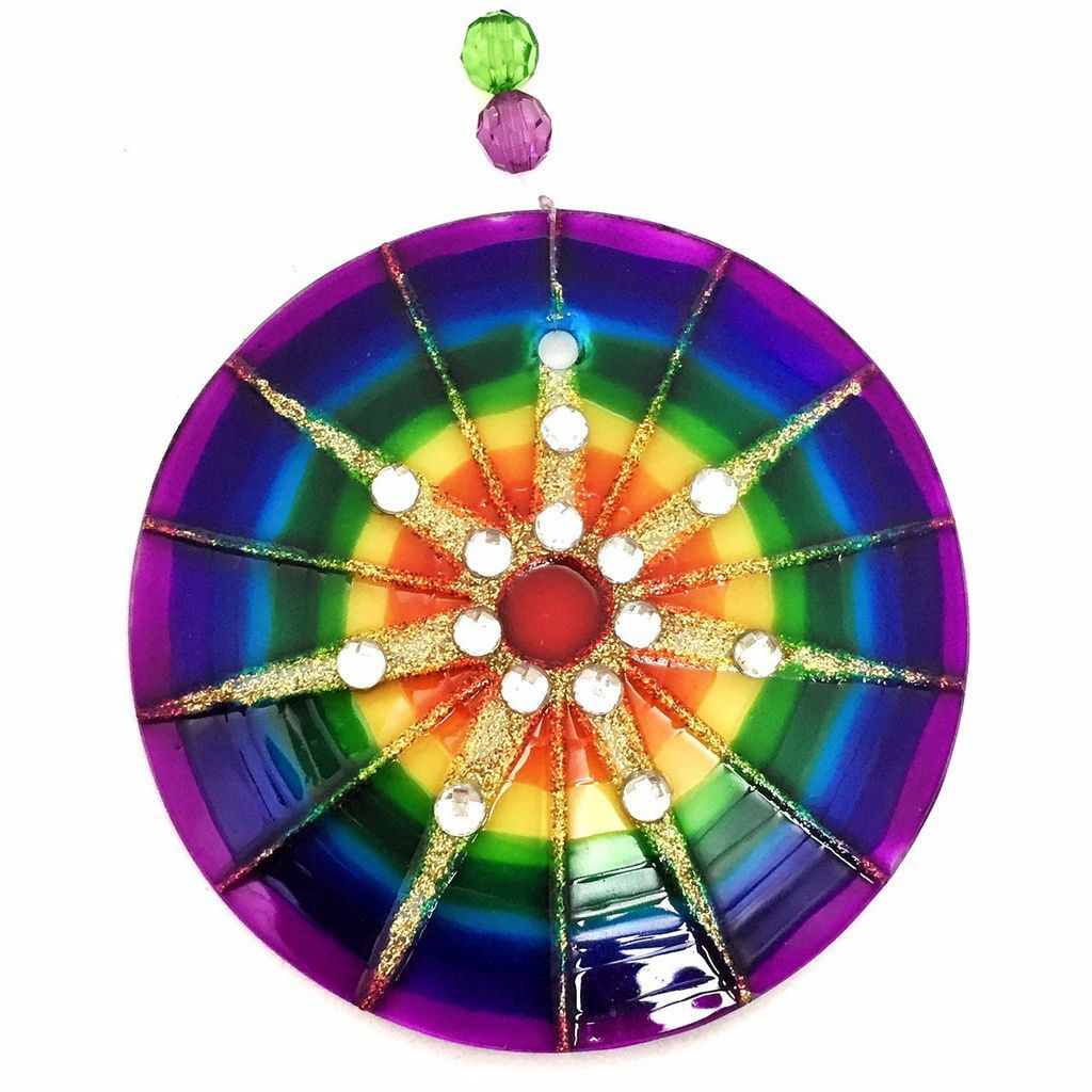 Mandala de Vidro Colorida 7 Raios 10cm