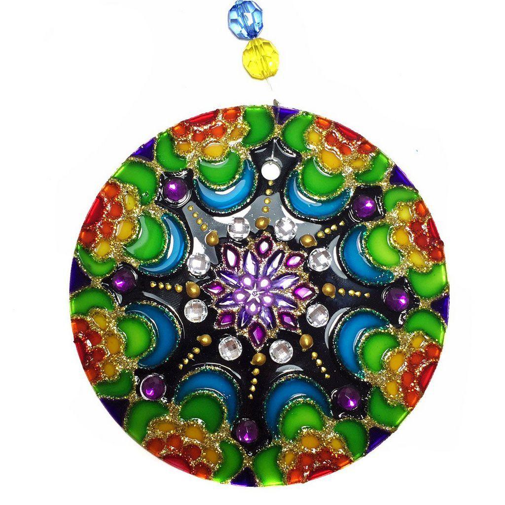 Mandala de Vidro Colorida Lua 10cm