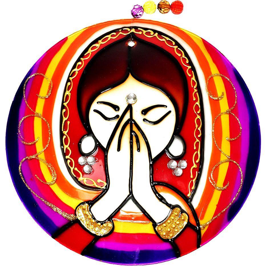 Mandala de Vidro Namastê 18cm